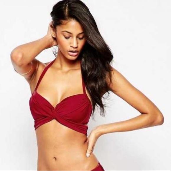 73d3e3ecaa ASOS Other - ASOS Cross Wrap Halter Bikini Top w  Underwire 32G